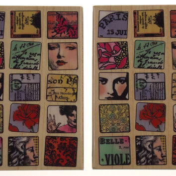 Hampton Art Paris Moments Diffusion Meyer Wood Rubber Stamp Lot 2 DF4557J