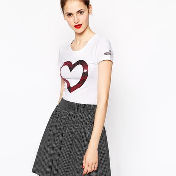 Love Moschino Short Sleeve T-Shirt with Signature Sequin Heart