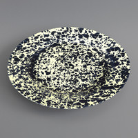 Marbled Enamel Dinner Plate Navy