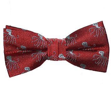 Octopus Bow Tie - Red, Woven Silk, Pre-Tied for Kids