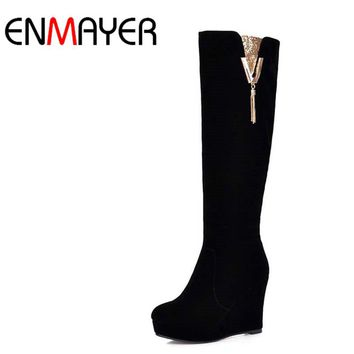 ENMAYER Sexy black Flock Knee-High Boots New Wedges Snow Boots Sequined Round Toe High Winter Long Boots 10cm Platform Boots