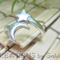 Star Moon Silver Ring, Adjustable, Sterling Silver 925, Simple, Vintage FREE SHIPPING 101