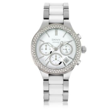 DKNY Designer Women's Watches Chambers White Ceramic and Silver Tone Stainless Steel Women's Watch
