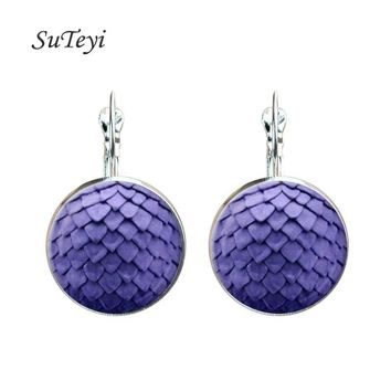 SUTEYI Fashion Game of Thrones Inspired Earrings Glass Cabochon Earring Silver Colors Dragon Egg In Handmade Earrings jewelry