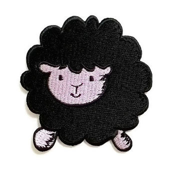 Black Sheep Cartoon Cute Animal New Iron On Patch Embroidered Applique Size 7cm.x7.3cm.