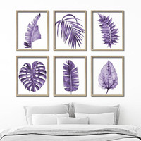 Watercolor Purple Leaf Wall Art, Botanical Leaves Plant CANVAS or Print, Purple Bathroom Decor, Purple Bedroom Wall Decor, Set of 6 Pictures