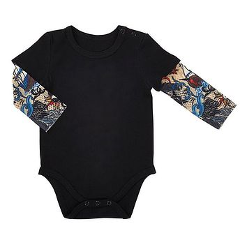 6 - 12 mos Black Baby Tattoo Sleeve Snap Shirt