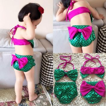 Baby Girls Mermaid Bowknot Bathing Costume Baby Summer Cute Beach Bandage Clothing