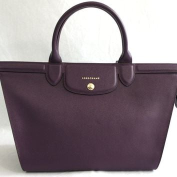 NWT Longchamp Le Pliage Heritage Saffiano-Leather Satchel, Berry MSRP