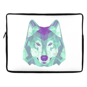 "Geometric Wolf Head 17"" Neoprene laptop Sleeve 14"" x 10"" Landscape by TooLoud"
