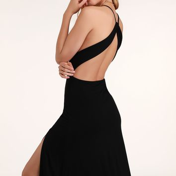 Cannon Black Backless Midi Dress