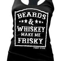 Women's Beards And Whiskey Racerback Tank Top - Black