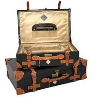 D'AOSTA ROTUNDA 2 PIECE VINTAGE LEATHER LUGGAGE TRAVEL SUITCASE