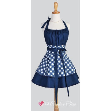BLUE BLACK GINGHAM RETRO KITCHEN APRON WOMAN COTTON COOKING SALON AVENTAL DE COZINHA DIVERTIDO PINAFORE APRON DRESS VINTAGE