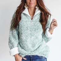 Denver Teddy Bear Fuzzy Sage Pullover Jacket