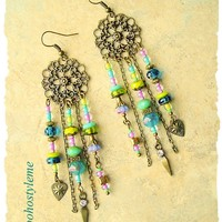 Boho Gypsy Assemblage Earrings, Colorful Bohemian Jewelry, Long Chandelier Earrings, bohostyleme, Kaye Kraus