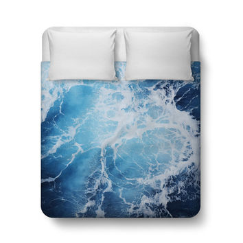 Blue Ocean Surf - Duvet Cover, Deep Blue Sea Nautical Style Decor Bedding Accent, Coastal Bedroom Bed Blanket Throw. In Twin Full Queen King