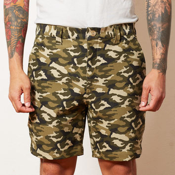 Camouflage Cotton Stretch Twill Shorts