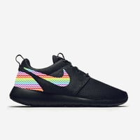 Custom Triple Black Nike Roshe Run Shoes Rainbow Chevron Fabric Pattern Men's Women's Birthday Present, Perfect Gift, Customized Nike Shoes