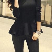 Long Sleeve Ruffled Sweater