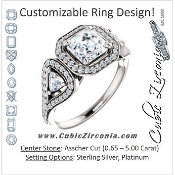 Cubic Zirconia Engagement Ring- The Cordelia (Customizable Cathedral-set Asscher Cut Design with 2 Trillion Cut Accents, Halo and Split-Pavé Band)