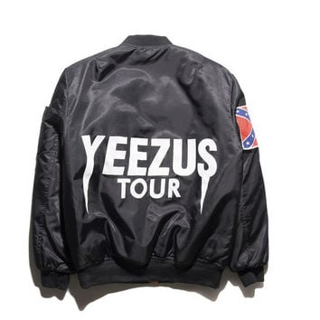 Bomber jackets cotton-padded jacket coat female air force couples Black YEEZUS