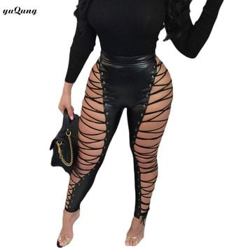 Lace Up Pants Women Bandage Leggings 2018 High Waist Side hollow Bodycon Pencil Pants