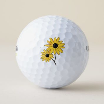 Yellow Flowers Golf Balls