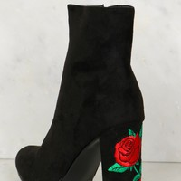 Suede Embroidered Heeled Booties Black