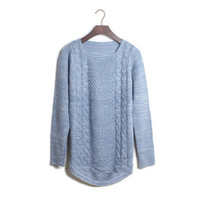 Aliexpress.com : Buy Free shipping 2013 Korean style  blue retro twist round neck sweater long sleeve Slim Knitting pullover XCD2081 820 42 from Reliable pullover knitwear suppliers on eFoxcity Wholesale