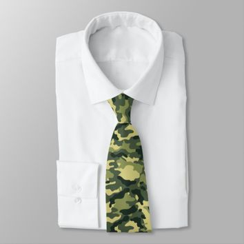 Jungle Green Military Camouflage Print Tie