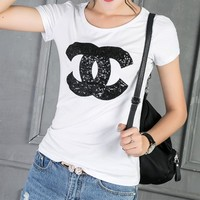 """Chanel"" Women Casual Fashion Sequins Letter Logo Embroidery Short Sleeve T-shirt Tops"