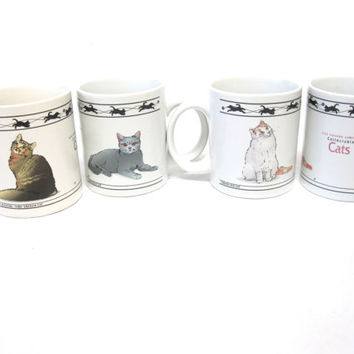 Kitty Cat Coffee Cup Mug Cats Set Of Four 4 Cups