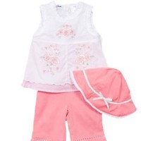BT Kids Newborn Girls (0-9mo) 3pc white sleeveless top & coral pants set-flowers $10.00