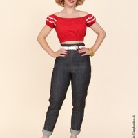 1950s Jeans Blue Denim Gold Stitch from Vivien of Holloway