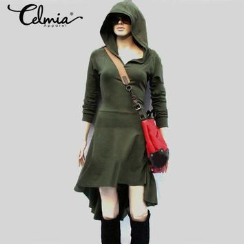 Celmia Plus Size 4xl Winter Clothes Women Hooded Dress 2017 Autumn Casual Long Sleeve Irregular Hem Solid Vestidos Female Jumper