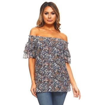 Women's Off Shoulder Paisley Print Top
