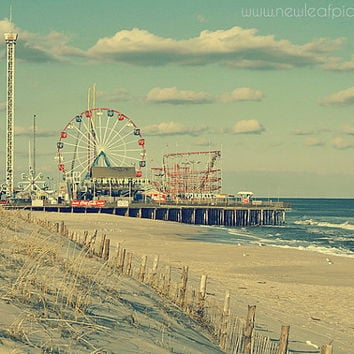 20% OFF - Seaside Heights Boardwalk vintage style photograph- Funtown Pier - Jersey Shore, landscape photography, beach decor