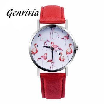 Genvivia 2017 Women's Wristwatch Quartz Watch Fashion Ladies Leather Band Analog Quartz Vogue Wrist Watch Fashion Watches