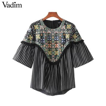 tassels pattern embroidery striped shirts half sleeve o neck pleated blouse casual chic tops