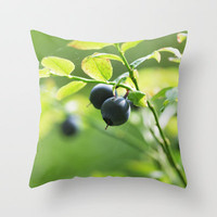 Fresh blueberries in the summer forest Throw Pillow by Tanja Riedel
