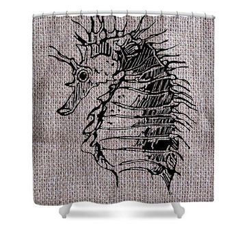 Seahorse On Burlap - Shower Curtain