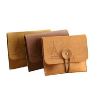 New Retro Romantic Tower Suede Leather Nostalgic Wallet Key Coin Bag Pouch Purse
