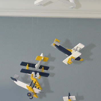 BiPlane Airplane Baby Mobile - Let's Fly Away - Navy White Gray Yellow