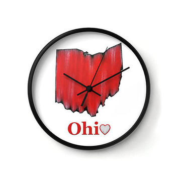 Ohio Clock, Wall Clock, red clock, wall decor, Ohio State, typography art, state love, state pride, red decor, office decor, home decor