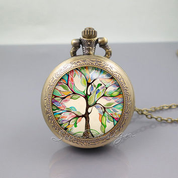 Tree Floral Pocket Watch Locket Necklace,colorful art Love tree,vintage pendant Pocket Watch Locket Necklace