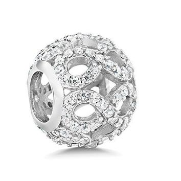 925 Sterling Silver White CZ Infinity Round Bead Charm Compatible W Pandora Bracelets