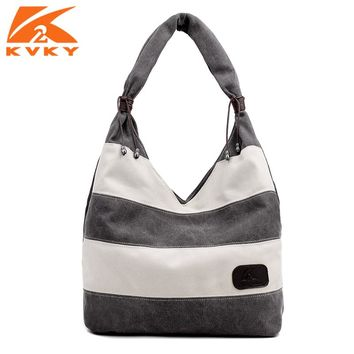 KVK Stripe Canvas Handbags Women Large Canvas Shoulder Bag Vintage Hobos Leisure Travel Bags