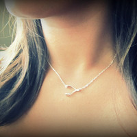 New Sideways Wishbone Necklace in Sterling Silver, Side wishbone, floating offset wishbone