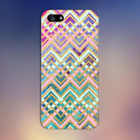 Teal x Pink x Gold Chevron Watercolor Design Case for iPhone 6 6 Plus iPhone 5 5s 5c iPhone 4 4s Samsung Galaxy s6 s5 s4 & s3 and Note 4 3 2